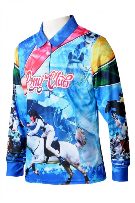KD099 大量訂製童裝長袖POLO恤 個人設計熱昇華印花POLO恤藍色童裝  童裝POLO恤專門店  澳洲馬術學校