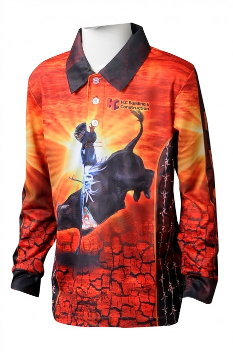 KD100 訂做長袖POLO恤熱昇華童裝 設計印花LOGO童裝POLO恤 童裝製衣廠  澳洲馬術學校