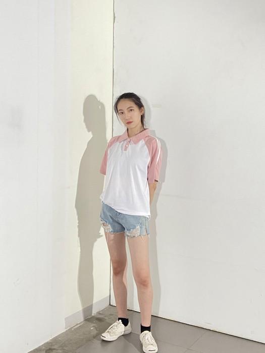 BD-MO-002 訂做白色拼粉红色短袖POLO恤 設計立領POLO恤 真人展示 POLO恤供應商