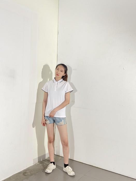 BD-MO-003 訂製短袖POLO恤  供應白色撞黑色邊POLO恤  真人展示 模特試穿 POLO恤中心