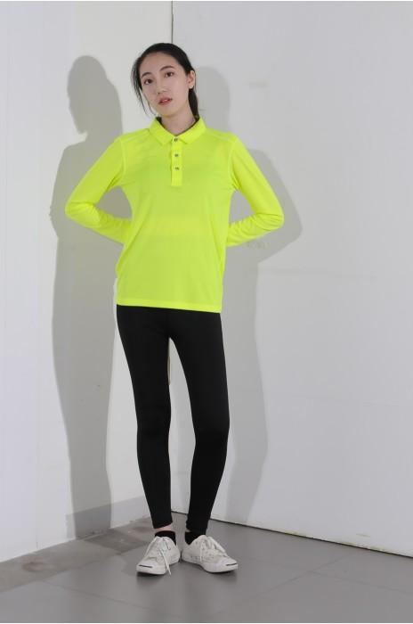 BD-MO-004 自訂長袖POLO恤  供應熒光黃色POLO恤  真人展示 模特試穿 POLO恤中心