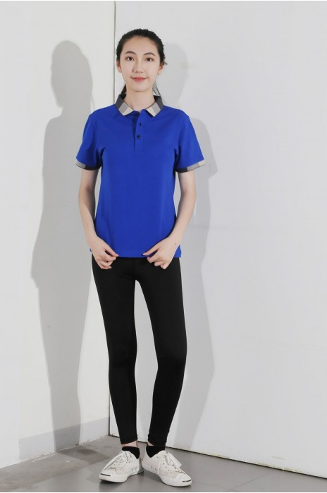 BD-MO-005 訂製短袖POLO恤  供應藍色拼黑白灰邊POLO恤  真人展示真人試穿 POLO恤中心