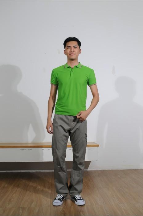 BD-MO-011 訂做男裝短袖POLO恤 設計綠色撞彩色邊POLO恤 真人展示 POLO恤製造商