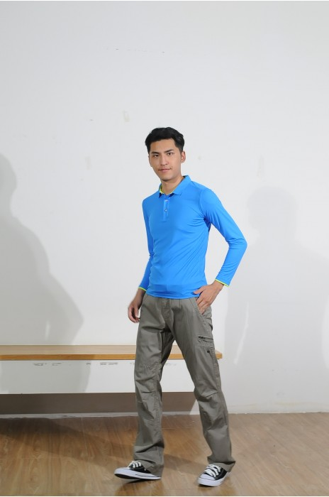 BD-MO-012 定購藍色長袖POLO恤 訂做黃色撞色袖邊POLO恤 真人展示 POLO恤專營