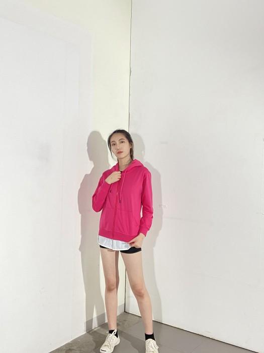 BD-MO-134 網上訂購有帽針織外套 模特試穿 訂造粉紅色休閒衛衣外套 有帽針織衛衣供應商
