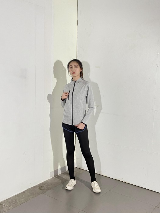 BD-MO-136 網上訂購針織外套 模特展示 黑色袖邊 灰色休閒外套 針織外套製造商