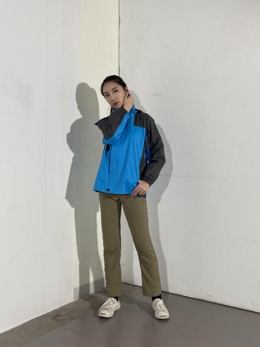 BD-MO-026 訂製舒適風褸 真人試穿 訂購黑色拼藍色風褸 防風外套製衣廠