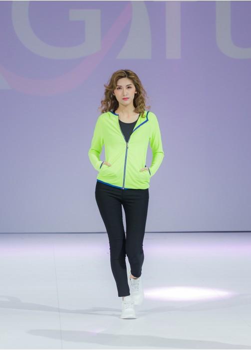 TF029 訂印螢光緊身運動外套 模特展示效果 製作潮流緊身運動外套 新款 幼身橡筋外套 緊身運動外套製造商