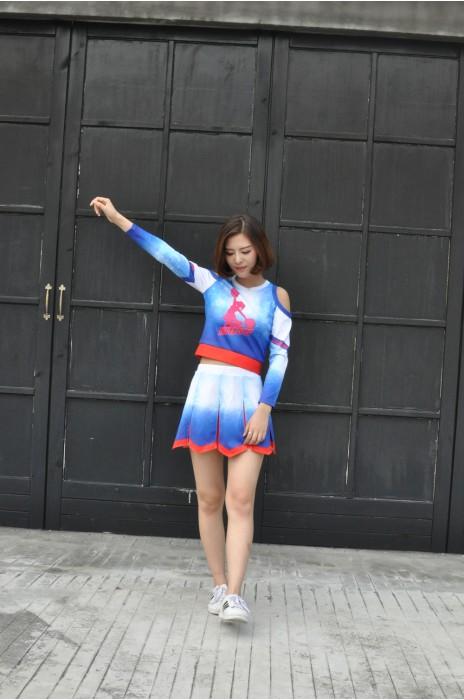 CH138 製造長袖啦啦隊服 模特示範 MODEL試穿 設計露腰啦啦隊服 訂製專業啦啦隊服 背心+ 裙 百褶裙 啦啦隊服製造商