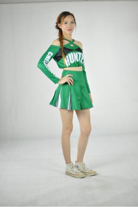 CH098 校際啦啦隊套裝 模特展示 真人示範 度身訂造 分體露肩啦啦隊套裙 百褶裙  啦啦隊裙配搭 啦啦隊服廠家