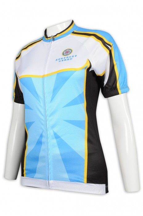B157 訂造女裝長袖單車衫 撞色 單車衫製衣廠