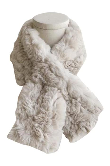 SKSL013 製造保暖圍脖圍巾 設計灰色仿兔毛加厚保暖毛絨交叉圍巾  圍巾中心