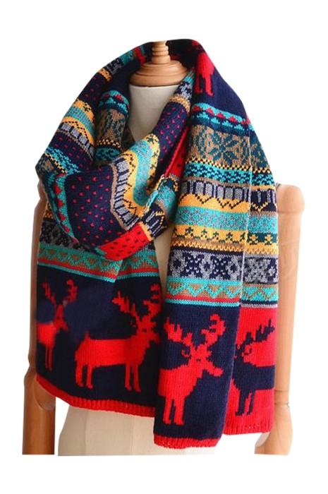 SKSL015 網上訂購校園風氣長款圍巾 製造雙面麋鹿保暖聖誕圍巾  聖誕圍巾製衣廠