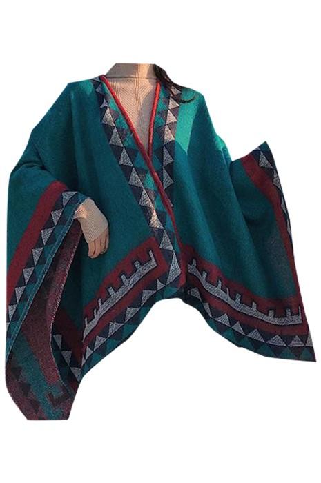 SKSL016 製造保暖斗篷圍巾  個人設計幾何圖案斗篷披肩兩用圍巾 斗篷圍巾生產商  披肩式圍巾