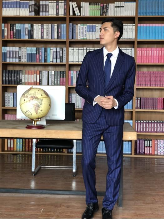 BD-MO-065  個人設計條紋西裝  訂製職業商務男西裝  真人試穿效果  西裝專門店