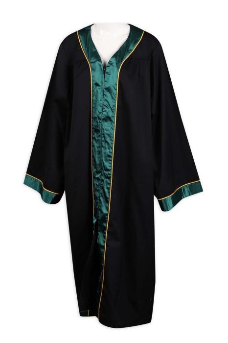 DA115 訂製V領拉鏈畢業袍 100%滌 HK 畢業袍製衣廠