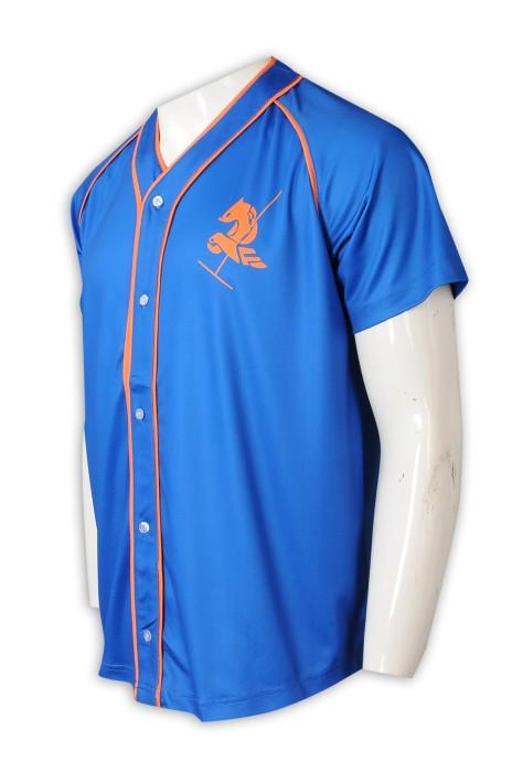 BU39   訂做印花logo棒球衫 棒球衫生產商   藍色