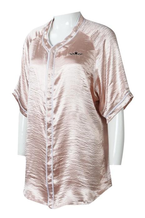 BU40  製造短袖女裝棒球衫  團體訂製棒球衫款式 啪鈕粉色繡花LOGO  棒球衫中心    絲光