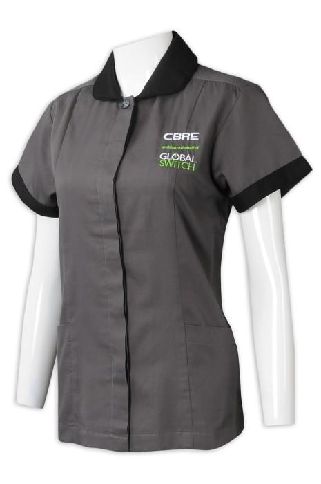 CL033  訂製女裝短袖清潔服 設計繡花LOGO清潔服 清潔服工廠 灰色 物業管理公司