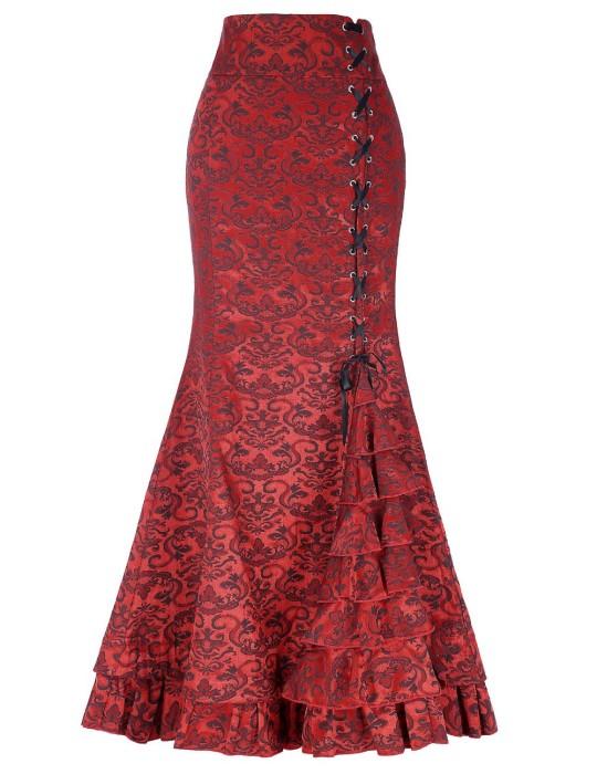 SKCS016 製造長款魚尾裙  性感束腰魚尾裙 喱士提花長裙 魚尾裙製衣廠
