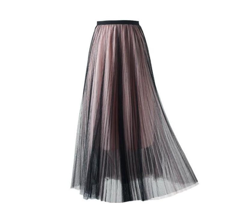 SKCS020 自訂撞色半身裙款式  飄逸長裙  網紗半身裙  半身裙中心