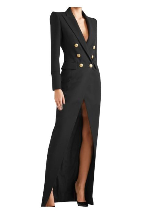SKCS022  製造西裝連衣裙 設計雙排釦西裝裙  連衣裙供應商