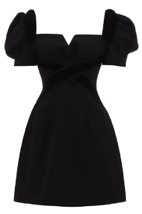 SKCS023  訂做黑色小禮服短裙女    設計感輕奢氣質    生日派對    連衣裙    小黑裙夏
