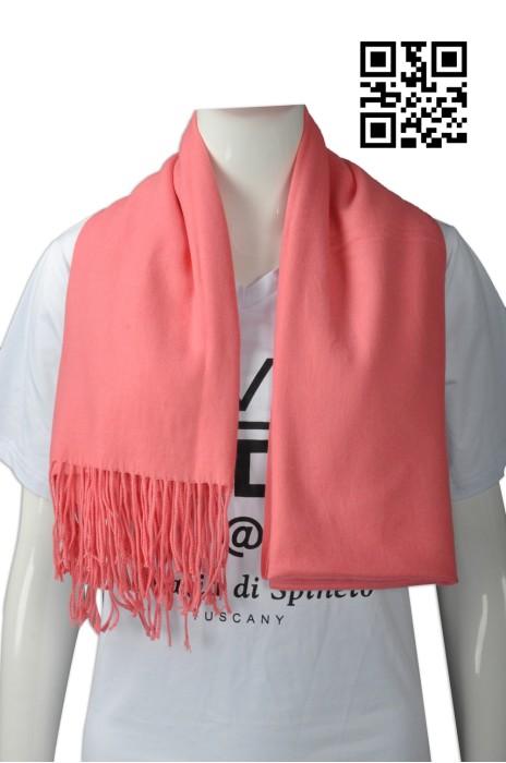 Scarf048供應淨色女款披巾  設計底部流蘇圍巾  大量訂造圍巾 圍巾供應商