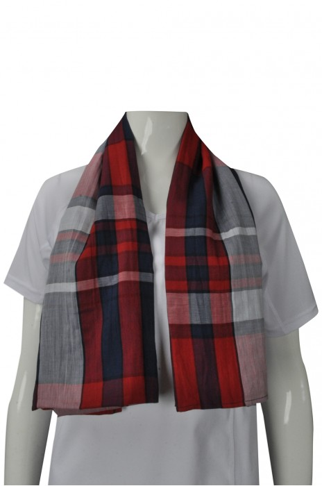 Scarf051 團體訂做格子款圍巾 設計時尚款 梳織 純棉女披巾 訂製圍巾製衣廠