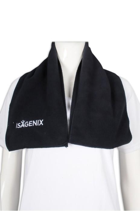 Scarf61 設計黑色搖粒絨圍巾 繡花logo 心理 心靈發展活動 圍巾製造商