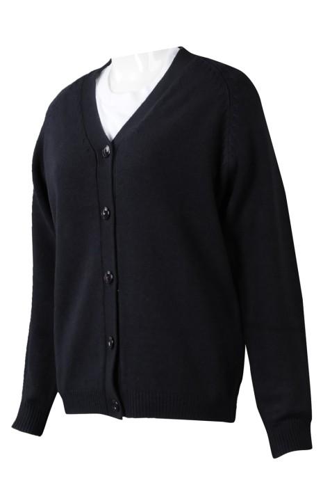 CAR041 來樣定制針織冷外套 設計開衫淨色冷外套 100%腈綸 100%亞克力針織毛衣7針  冷外套製造商 黑色