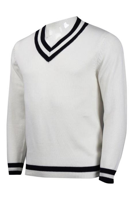 JUM044 設計淨色V領毛衫   2/32支棉 476G 毛衫製衣廠