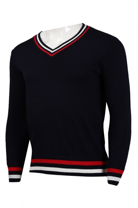 JUM046 訂做撞色V領修身男裝毛衫  2/32支棉 269G 毛衫香港公司