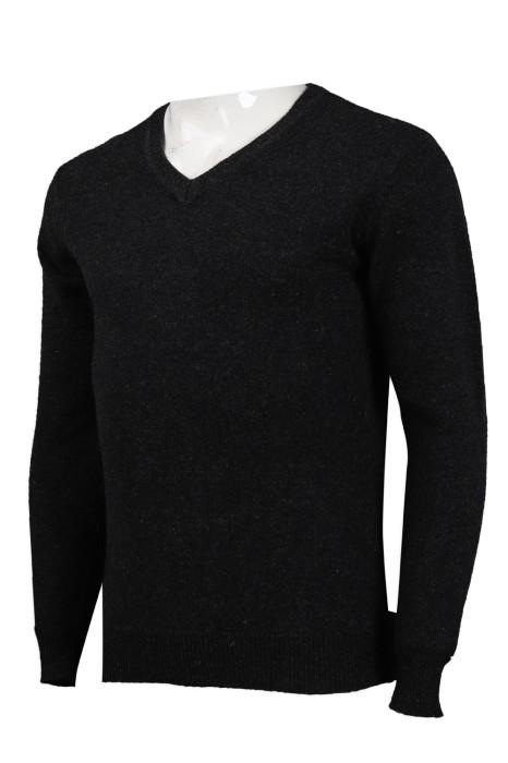 JUM047 製作黑色緊身V領毛衫 16s 100%羊仔毛 毛衫專門店