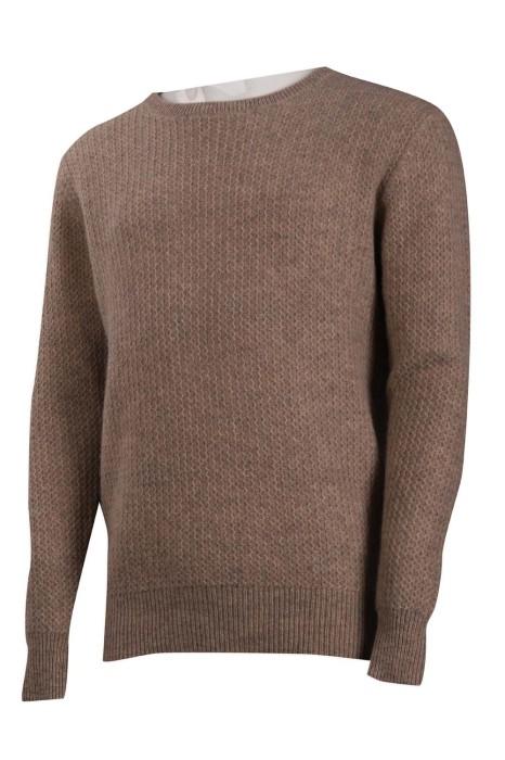 JUM049 設計男裝圓領長袖毛衣 100%羊毛 澳洲 毛衫生產商
