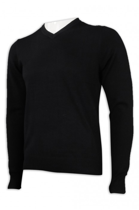 JUM050 設計長袖緊身V領毛衫 16%羊毛 16腈綸 35%錦綸 33%滌綸 毛衫製造商