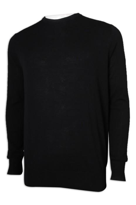 JUM053 訂製黑色圓領毛衣 100%棉 毛衫製造商