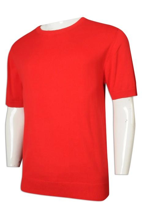 JUM055 設計男裝短袖毛衣 套頭 100%全棉 毛衫製衣廠