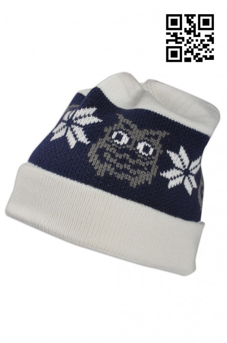 BEANIE023 反摺套頭冷帽 度身訂造 可愛織花圖案冷帽 冷帽穿搭 冷帽生產商