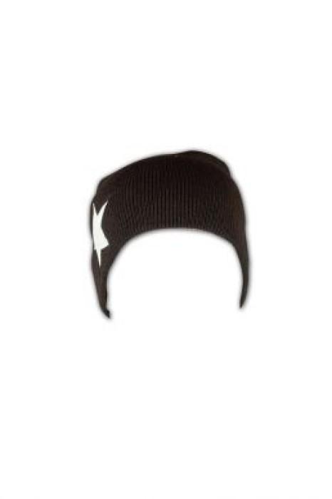 BEANIE018  五角星貼皮冷帽 訂製 圖案套頭冷帽款式 細線冷帽 冷帽批發商
