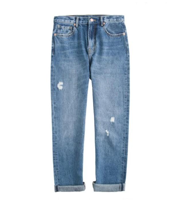 JS004 設計直筒牛仔褲款式   自訂破洞毛邊牛仔褲款式   破洞褲  九分褲   製作九分褲牛仔褲款式   牛仔褲專營