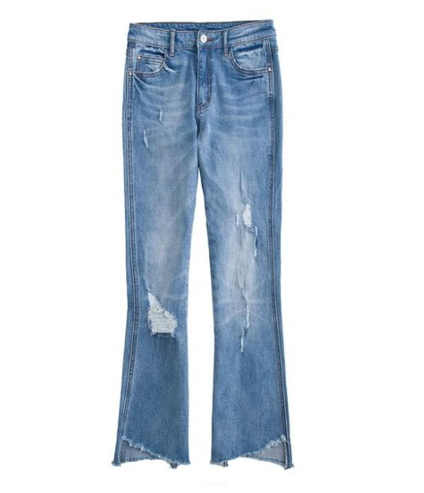 JS005 自製女裝牛仔褲款式   製造不規則毛邊牛仔褲款式    訂做牛仔褲款式   牛仔褲製衣廠  藍色