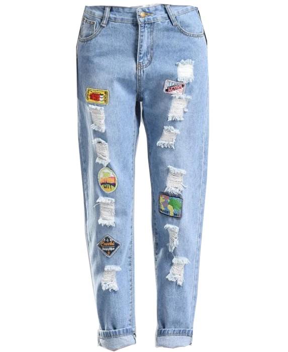 JS007 製作破洞牛仔褲款式   訂做時尚牛仔褲款式   貼布 公仔 設計女裝牛仔褲款式   牛仔褲生產商 藍色