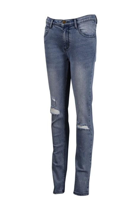 JS008 訂製破洞女款牛仔褲 修身 直筒 牛仔褲生產商 藍色