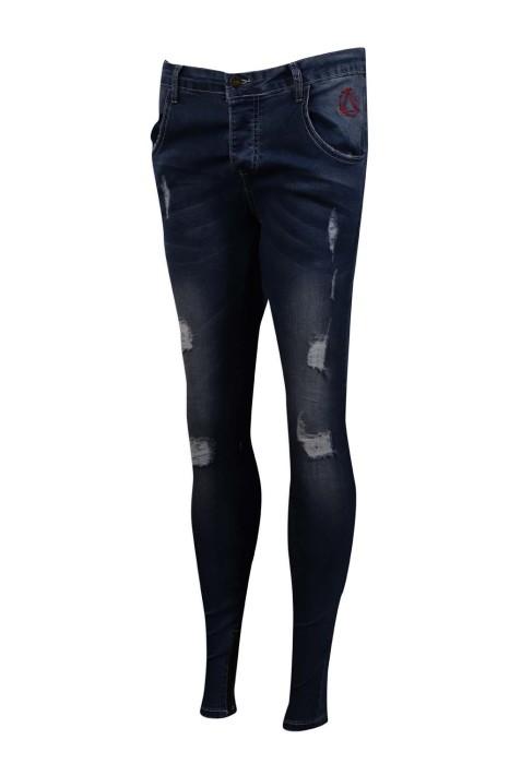 JS009 訂做破洞牛仔褲 修身 彈力 英國 牛仔褲製造商 藍色