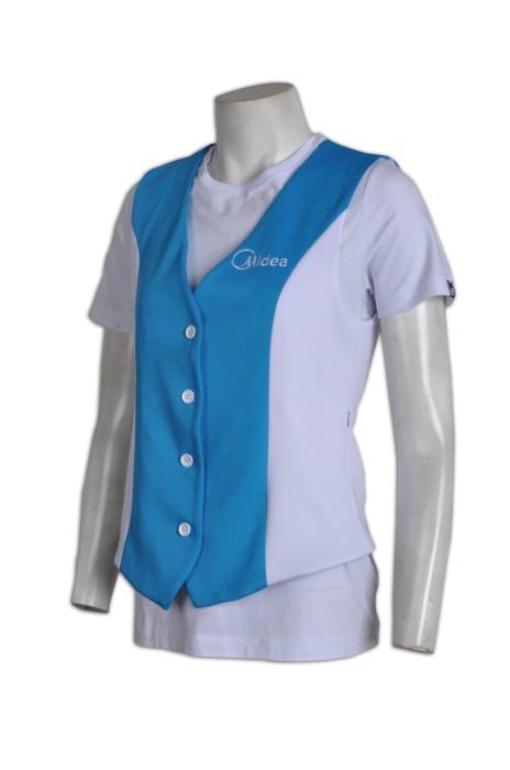 WC006  團體馬甲背心外套 度身訂製 公司Logo印花制服背心 廣告西裝背心 西裝背心專門店 撞色 藍 白