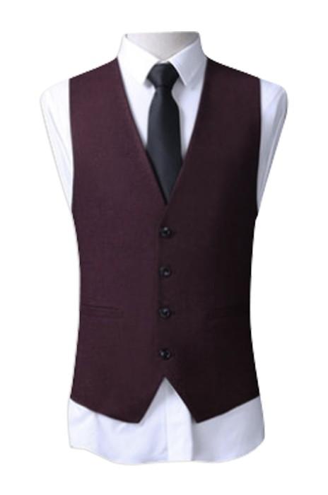 WC007  訂購馬甲男款修身  設計男士西裝馬夾 禮服結婚商務休閒馬甲 馬甲供應商 酒紅色