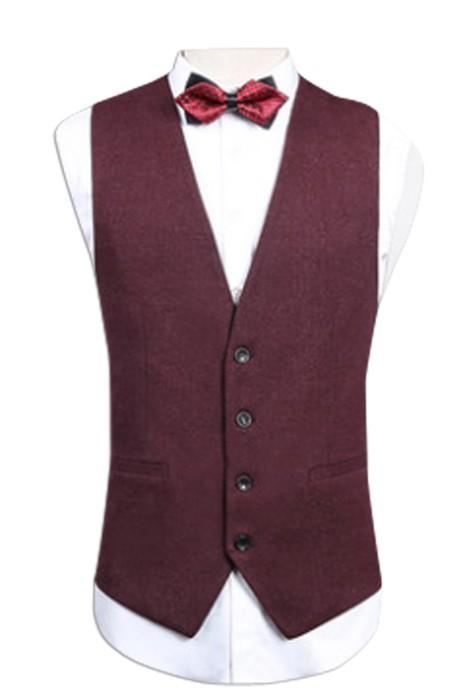 WC009  設計修身亮面男士馬甲背心 供應西裝馬夾禮服  休閒透氣西裝背心  西裝背心製造商 酒紅色