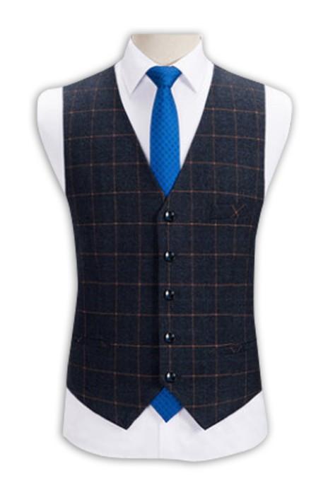 WC011  訂購修身西裝馬甲男士 無袖修身西服馬夾背心  訂購格仔背心馬甲 背心馬甲製造商 深藍色