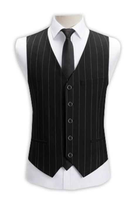 WC013 訂造西裝馬甲男士 薄款商務休閒修身型馬甲 職業裝黑色條紋西服背心 西裝背心專門店 黑色